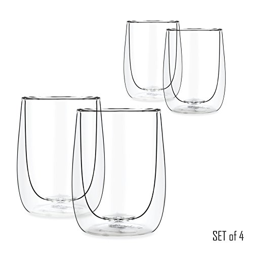 Tealyra - AURA 230ml - Set of 4 - Modern Double Wall Clear Glasses - Perfect Mugs - Tea - Coffee - Cappuccino - Heatproof Insulating - Cup Keeps Beverages Hot - Gift-Box - 8-ounce