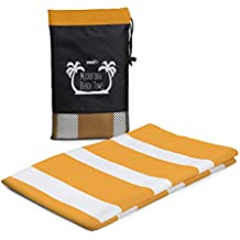 "Oversized Microfiber Beach Towels by SBZ Outdoors, Blue Pink Orange Stripes - Large - 31"" x 70"" & XL - 35"" x 78"" Soft, Fast Drying, & Lightweight Towel"