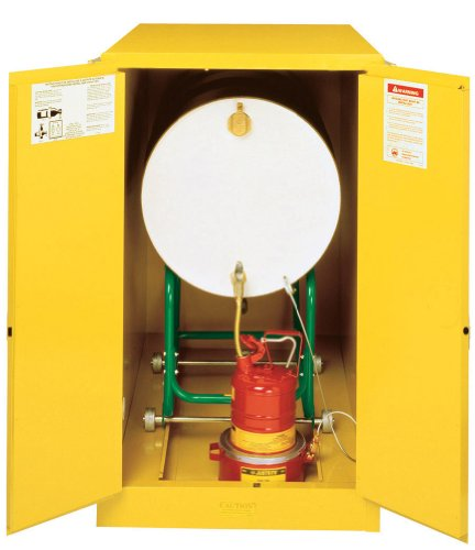 Justrite 899300 Sure-Grip EX Galvanized Steel 2 Door Manual Horizontal Drum Flammable Storage Cabinet with Cradle Track, 55 Gallon Capacity, 30