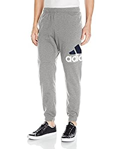 adidas Men's Essentials Performance Logo Pants, Medium Grey Heather/White/Black, X-Small