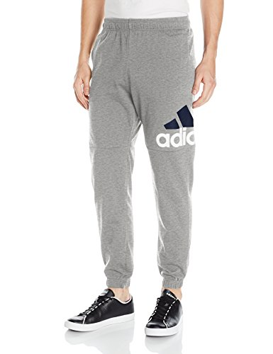 adidas Men's Athletics Essential Logo Tapered Pants, Medium Grey Heather/White/Black, XX-Large