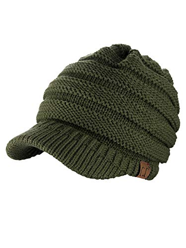 C.C Warm & Thick Cable Knitted Brim Visor Beanie Cap, Dark Olive
