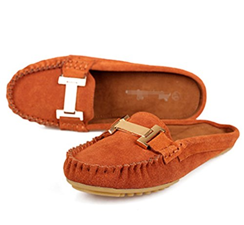CRC Women's Fashion Comfortable Suede Leather Driving Walking Trail Running Boat Loafers Flats Multi Colored Brown