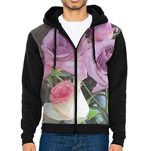 (Men's Roses Bouquet Patterns Print Athletic Sweaters Fashion Hoodies Sweatshirts)