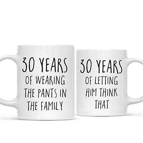 Andaz Press Funny 30th Wedding Anniversary 11oz. Couples Coffee Mug Gag Gift, 30 Years of Wearing The Pants in The Family, Letting Him Think That, 2-Pack with Gift Box for Husband Wife Parents