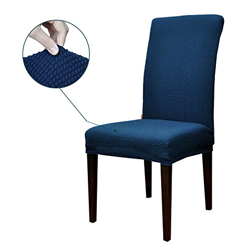 Cotton Dining Chair (Subrtex Jacquard Stretch Dining Room Chair Slipcovers (4, Blue Jacquard))