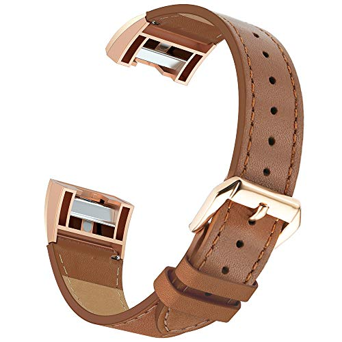 Simpeak Compatible for Fitbit Charge 2 Leather band, Genuine Leather Replacement Strap Band for Fit bit charge 2 Wristband Accessories for Fitbit Charge 2 Smart Watch,Dark brown Band/Rose gold - Gold Brown Band Leather