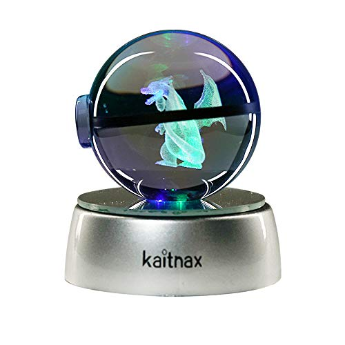 Kaitnax 3D Laser Etched Crystal Ball(50mm) Puzzle with LED Base (Charizard 1)]()