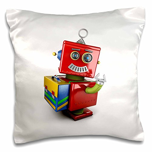 3dRose pc_165724_1 Cute Vintage Toy Robot with School Sat...