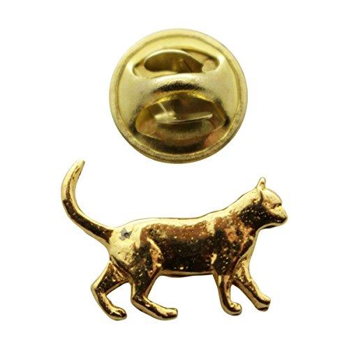 Walking Cat Mini Pin ~ 24K Gold ~ Miniature Lapel Pin ~ Sarah