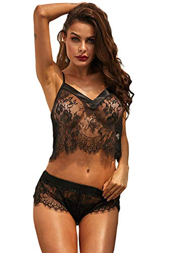 - Lucklovell Women Sexy Black Dreamer Cami Knicker Lingerie Set ((US 8-10) M, Black)