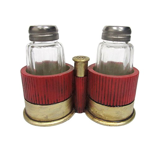 12 Gauge Shotgun Shell Casing Salt and Pepper Shakers Set Tabletop Decor