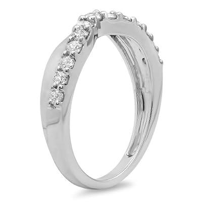0.55 Carat (ctw) 10K Gold Round Cut Diamond Ladies Anniversary Wedding Guard Contour Band 1/2 CT