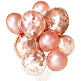 FONBALLOON PARTY FindFun Rose Gold Foil Confetti Balloon Bouquet for Wedding, Graduation, Birthday, Bridal Shower(20 PACK)