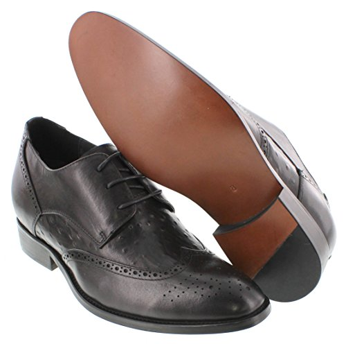 CALDEN K62622-2.8 inches Taller - height Increasing Elevator Shoes (Black Slip-On Leather Bottom) huimO