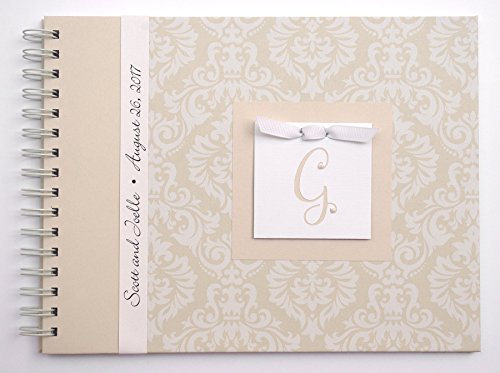 First Wedding Anniversary Gift | Personalized Anniversary Journal | Choose Your Charm | Tan Damask