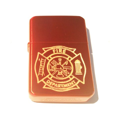 Vector KGM Thunderbird Custom Lighter - Fire Fighter Department Seal Logo Candy Apple Sparkle RED Gold Inlay Chrome Finish ()