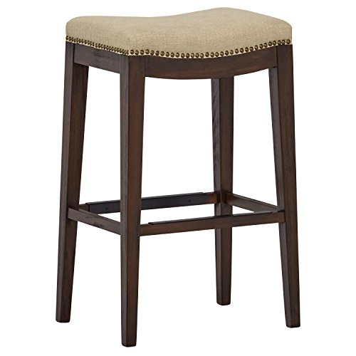 Stone Beam Elden Nailhead Saddle Kitchen Counter Backless Bar Stool, 30 Inch Height, Hemp Beige, Wood