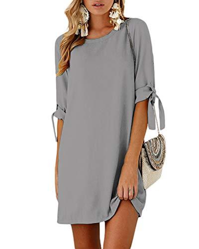 YOINS Mini Dresses for Women Summer T Shirt Solid Crew Neck Tunics Self-tie Half Sleeves Blouse Dresses New-Gray L