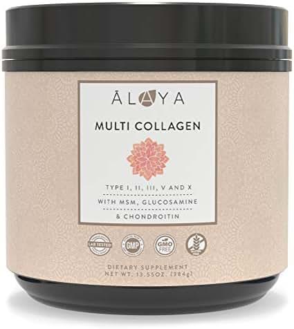 Alaya Naturals Multi Collagen Protein Powder - Grass Fed Collagen Peptides Powder - Type I, II, III, V, X Bovine, Chicken, Marine Collagen Hydrolysate – Multi Collagen Powder with MSM + GC