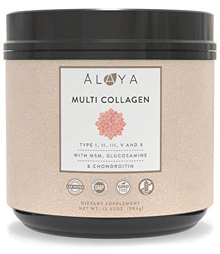 Alaya Naturals Multi Collagen Protein Powder - Grass Fed Collagen Peptides Powder - Type I, II, III, V, X Bovine, Chicken, Marine Collagen Hydrolysate - Multi Collagen Powder with MSM + GC