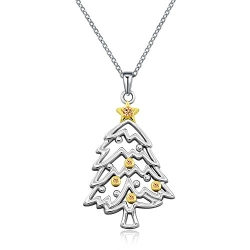 925 Sterling Silver CZ Crystal Christmas Tree Pendant Necklace Christmas Xmas Gift Jewelry for Daughter Girls