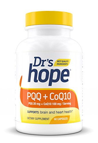 Dr's Hope | PQQ 20 mg + CoQ10 100mg | High Quality, GRAS, Gluten Free, Vegan, 60 Veggie Caps | Nerve Growth Factor in Mental Support and Cardiovascular | Pyrroloquinoline Quinone + Ubiquinol | USA