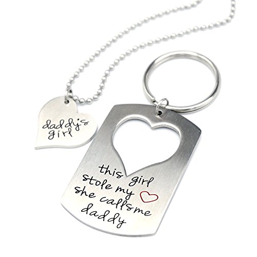 O.RIYA Stainless Steel Father Daughter Keychain Necklace Set