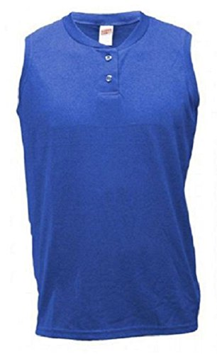 - Soffe Ladies Sleeveless Columbia Blue Two-Button Henley-LARGE