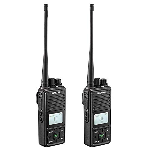 SAMCOM FPCN10A 20 Channel Walkie Talkie Wireless Intercom with Group Button, Two Way Radio UHF 400-470MHz with 2.5 Miles Range, Earpiece & Belt Clip Included - Black (Pack of 2)