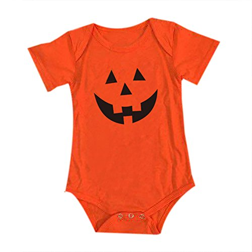 Halloween Month 06 Costumes (Halloween Baby Romper Cartoon Pumpkin Short Sleeve Newborn Jumpsuit Girls Boys)