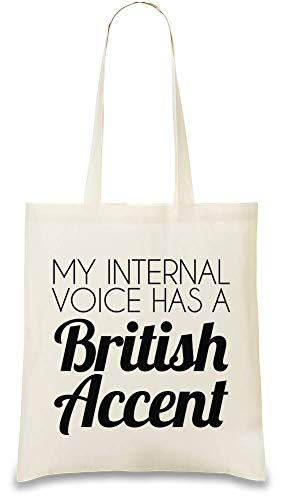 Eco Custom 100 Accent usable Color Voice Re My Drôle British Unique Natural A Interne Internal friendly Voix Has Bag Soft Britannique amp; Tote Naturel Printed Funny Ma Slogan Cotton wqYxOgpWT