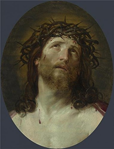 High Quality Polyster Canvas ,the Beautiful Art Decorative Prints On Canvas Of Oil Painting 'After Guido Reni - Head Of Christ Crowned With Thorns,1640-1749', 18x24 Inch / 46x60 Cm Is Best For Living Room Decor And Home Gallery Art And Gifts (Mascara Blanca Halloween)