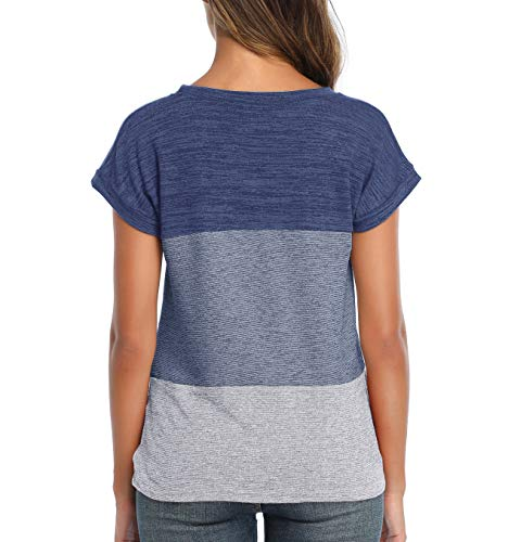 Cute Summer Tops Casual T-Shirts - Twist Tops Color Block Casual Tee Knot Short Sleeve Shirts