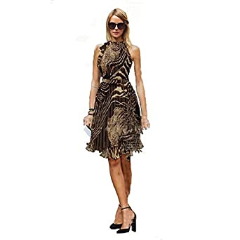 GigaMax(TM) New Summer Women Dress Vintage Sleeveless Chiffon Leopard Knee Length Dress Casual