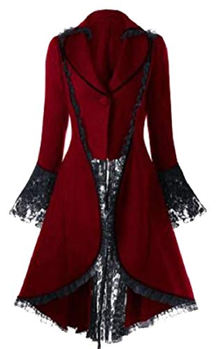 hic Vintage Tailcoat Steampunk Victorian Swallow Tail Jacket Tuxedo Coat Red S ()