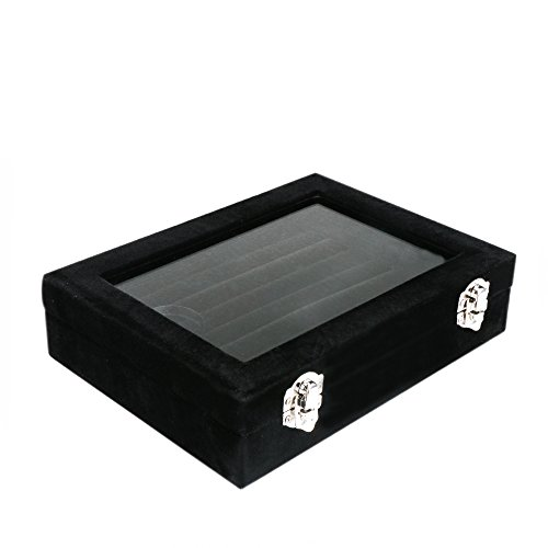 Meshela Neu Damen-Schmuckkasten Schmuck Box Schmuck Organizer Display Aufbewahrungsbox für Ringe Ohrringe Halskette (Schwarz) -