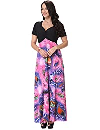 Women's Printed Patterned Plus Size Maxi Dress F33
