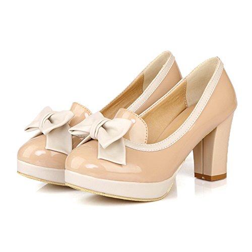 VogueZone009 Damen Gemischte Farbe Lackleder Mittler Ziehen auf Rund Zehe Pumps Schuhe Aprikosen Farbe