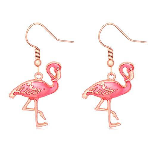 Cute Pink Enamel Flamingo Bird Dangle Earrings Women Jewelry Beautiful 3 Tone (Rose gold)