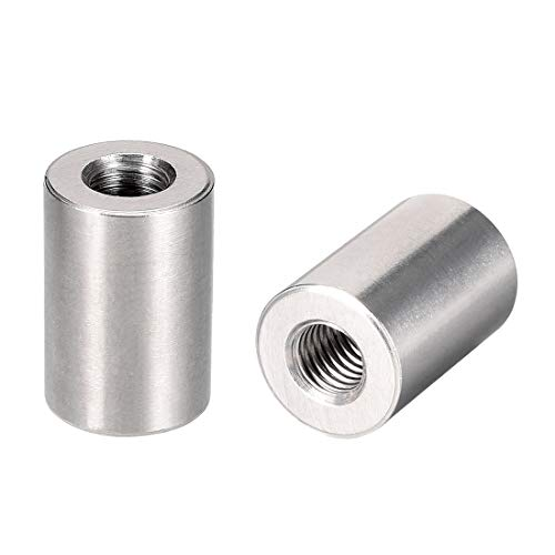 uxcell Round Connector Nuts, M10x30mm Height Sleeve Rod bar Stud Nut Stainless Steel 304, Pack of 10