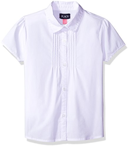 Girls Short Sleeve White Blouse (The Children's Place Big Girls' Uniform Short Sleeve Blouse, White 44392, Medium/7/8)