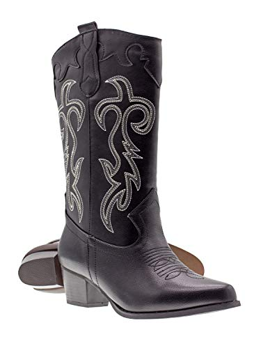 Canyon Trails Women's Classic Embroidered Pointed Toe Western Rodeo Cowboy Boots (9 (M) US Women's, Black) -