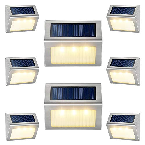 Solar Lights for Decks [Warm White] Waterproof Solar Powered Steps Light Auto On/Off Outdoor Wireless LED Lamp Lighting Walkway Patio Stair Garden Path Rail Backyard Fence Post 8 Pack