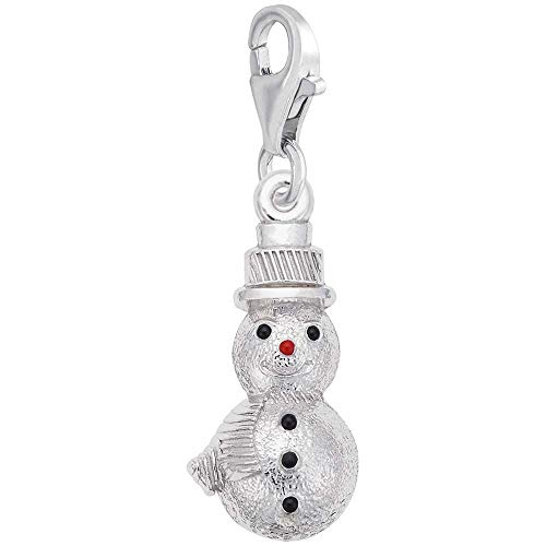 Rembrandt Charms Snowman Charm with Lobster Clasp, 14k White - Snowman White Charm