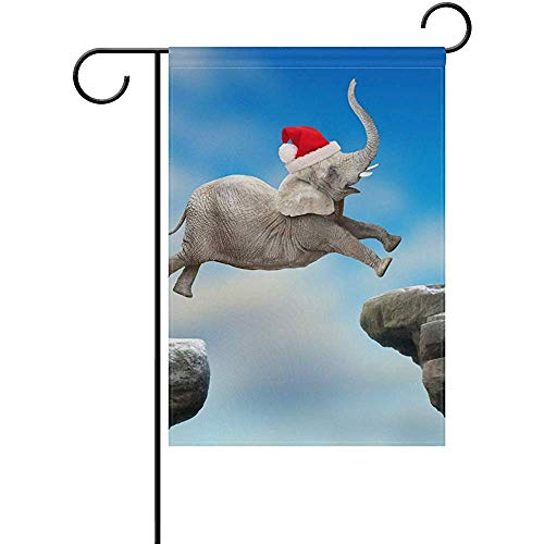 Andrea Back Double Sided Yard Garden Flag, Big Elephant Jumping Perfect for Indoor Outdoor Garden Yard Decoration (12