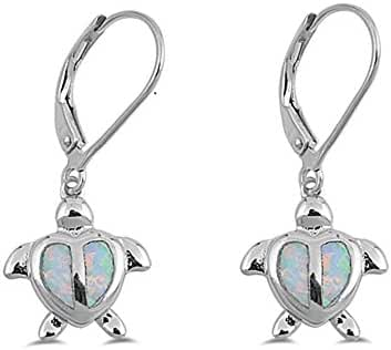 White Simulated Opal Sea Turtle Lever Back Earrings Sterling Silver