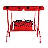 Kids 2 Person Patio Swing Chair Children Porch Bench Canopy Yard Furniture Red - oxford cloth material