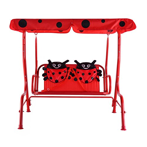 Kids 2 Person Patio Swing Chair Children Porch Bench Canopy Yard Furniture Red - oxford cloth material by Unknown