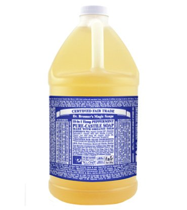 Dr. Bronner's - Pure-Castile Liquid Soap (Peppermint, 64 ounce) - Made with Organic Oils, 18-in-1 Uses: Face, Body, Hair… 1 MADE WITH ORGANIC OILS and CERTIFIED FAIR TRADE INGREDIENTS: Dr. Bronner's Pure-Castile Liquid Soaps are made with over 90% organic ingredients. Over 70% of ingredients are certified fair trade, meaning ethical working conditions and fair prices. GOOD FOR YOUR BODY and THE PLANET: Dr. Bronner's liquid soaps are fully biodegradable and use all-natural, vegan ingredients that pose no threat to the environment. Our products and ingredients are never tested on animals and are cruelty-free. NO SYNTHETIC PRESERVATIVES, DETERGENTS, OR FOAMING AGENTS: Our liquid soaps are made with plant-based ingredients you can pronounce—no synthetic preservatives, thickeners, or foaming agents—which is good for the environment and great for your skin!